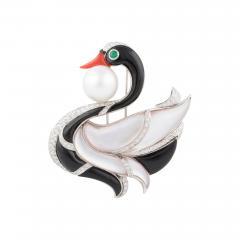 Ella Gafter Ella Gafter Pearl Diamond Swan Brooch Pin with Onyx Coral - 1045073