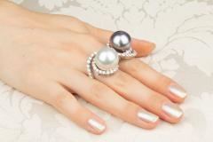 Ella Gafter Ella Gafter Pearl and Diamond Two Finger Ring South Sea Pearl Tahitian Pearl - 1115979