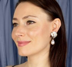 Ella Gafter Ella Gafter Pink Sapphire Earrings with South Sea Pearl Onyx and Diamonds - 1206463