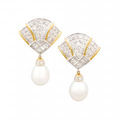 Ella Gafter Ella Gafter Pink Sapphire Earrings with South Sea Pearl Onyx and Diamonds - 1211941