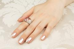 Ella Gafter Ella Gafter Pink Sapphire and Diamond Cocktail Ring - 1097402