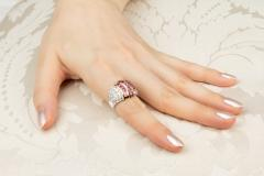 Ella Gafter Ella Gafter Pink Sapphire and Diamond Cocktail Ring - 1097403