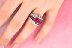 Ella Gafter Ella Gafter Ruby and Diamond Cocktail Pinky Ring - 1115870