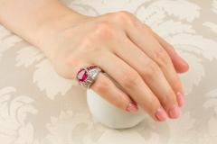 Ella Gafter Ella Gafter Ruby and Diamond Cocktail Pinky Ring - 1115873