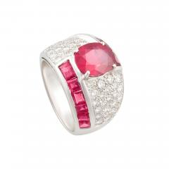 Ella Gafter Ella Gafter Ruby and Diamond Cocktail Ring - 1097633