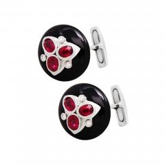 Ella Gafter Ella Gafter Ruby and Diamond Cufflinks Onyx White Gold - 1030198