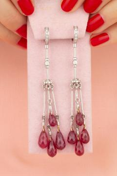 Ella Gafter Ella Gafter Ruby and Diamond Drop Earrings - 1015608