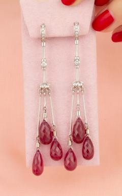 Ella Gafter Ella Gafter Ruby and Diamond Drop Earrings - 1172326