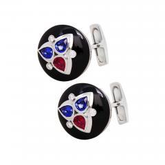 Ella Gafter Ella Gafter Ruby and Sapphire Cufflinks Diamond Onyx White Gold - 1030199