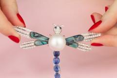 Ella Gafter Ella Gafter Sapphire Diamond Pearl Dragonfly Brooch Pin - 1047992
