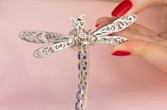 Ella Gafter Ella Gafter Sapphire Diamond Pearl Dragonfly Brooch Pin - 1047993