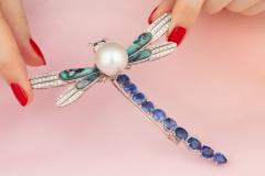 Ella Gafter Ella Gafter Sapphire Diamond Pearl Dragonfly Brooch Pin - 1047994