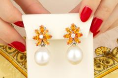 Ella Gafter Ella Gafter Sapphire South Sea Pearl and Diamond Earrings - 1187531