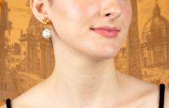 Ella Gafter Ella Gafter Sapphire South Sea Pearl and Diamond Earrings - 1187537
