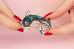 Ella Gafter Ella Gafter Sapphire and Diamond Dolphin Brooch Pin - 1042578