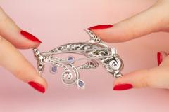 Ella Gafter Ella Gafter Sapphire and Diamond Dolphin Brooch Pin - 1042579