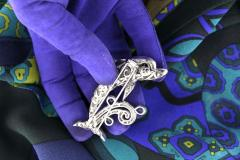 Ella Gafter Ella Gafter Sapphire and Diamond Dolphin Brooch Pin - 1042584