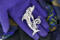Ella Gafter Ella Gafter Sapphire and Diamond Dolphin Brooch Pin - 1042585