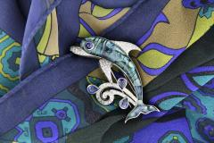 Ella Gafter Ella Gafter Sapphire and Diamond Dolphin Brooch Pin - 1042587