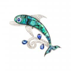 Ella Gafter Ella Gafter Sapphire and Diamond Dolphin Brooch Pin - 1045071