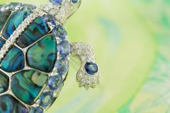 Ella Gafter Ella Gafter Sapphire and Diamond Turtle Brooch Pin - 1047982