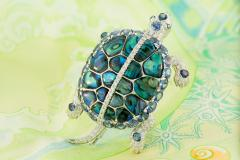 Ella Gafter Ella Gafter Sapphire and Diamond Turtle Brooch Pin - 1047984