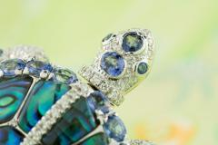 Ella Gafter Ella Gafter Sapphire and Diamond Turtle Brooch Pin - 1047986