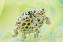 Ella Gafter Ella Gafter Sapphire and Diamond Turtle Brooch Pin - 1047987
