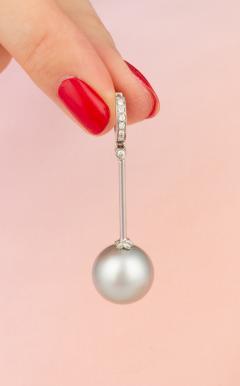 Ella Gafter Ella Gafter Silver Tahitian Pearl and Diamond Drop Earrings - 1141963