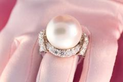 Ella Gafter Ella Gafter South Sea Pearl Diamond Cocktail Ring - 1111873