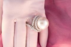 Ella Gafter Ella Gafter South Sea Pearl Diamond Cocktail Ring - 1112892