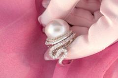 Ella Gafter Ella Gafter South Sea Pearl Diamond Cocktail Ring - 1112894