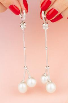 Ella Gafter Ella Gafter South Sea Pearl Diamond Drop Earrings - 1185315
