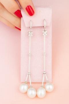 Ella Gafter Ella Gafter South Sea Pearl Diamond Drop Earrings - 1185316