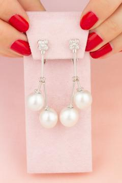 Ella Gafter Ella Gafter South Sea Pearl Diamond Drop Earrings - 1187540