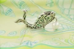 Ella Gafter Ella Gafter South Sea Pearl Diamond Emerald Fish Brooch Pin - 1043059