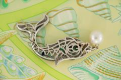 Ella Gafter Ella Gafter South Sea Pearl Diamond Emerald Fish Brooch Pin - 1043060