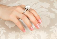 Ella Gafter Ella Gafter South Sea Pearl Diamond Onyx Cocktail Ring - 1115779