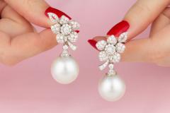 Ella Gafter Ella Gafter South Sea Pearl Diamond White Gold Flower Earrings - 1194458