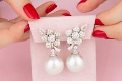 Ella Gafter Ella Gafter South Sea Pearl Diamond White Gold Flower Earrings - 1194459