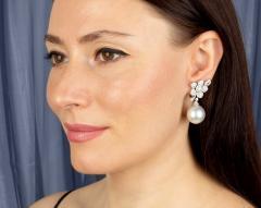 Ella Gafter Ella Gafter South Sea Pearl Diamond White Gold Flower Earrings - 1194461