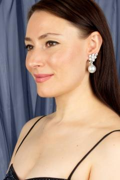 Ella Gafter Ella Gafter South Sea Pearl Diamond White Gold Flower Earrings - 1194462