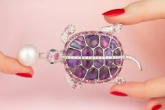 Ella Gafter Ella Gafter South Sea Pearl Pink Sapphire and Diamond Turtle Brooch Pin - 1046695
