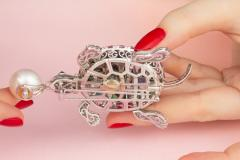 Ella Gafter Ella Gafter South Sea Pearl Pink Sapphire and Diamond Turtle Brooch Pin - 1046696