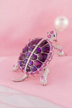 Ella Gafter Ella Gafter South Sea Pearl Pink Sapphire and Diamond Turtle Brooch Pin - 1046697