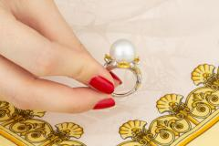 Ella Gafter Ella Gafter South Sea Pearl Yellow Sapphire Diamond Cocktail Ring - 1113839
