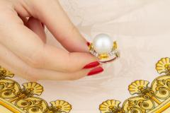Ella Gafter Ella Gafter South Sea Pearl Yellow Sapphire Diamond Cocktail Ring - 1113840