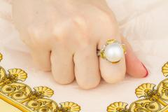 Ella Gafter Ella Gafter South Sea Pearl Yellow Sapphire Diamond Cocktail Ring - 1113841