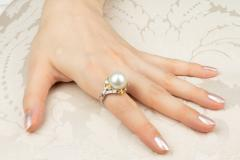 Ella Gafter Ella Gafter South Sea Pearl Yellow Sapphire Diamond Cocktail Ring - 1113842