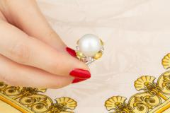 Ella Gafter Ella Gafter South Sea Pearl Yellow Sapphire Diamond Cocktail Ring - 1113843